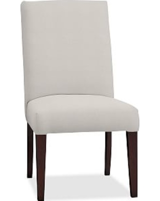 PB Comfort Square Upholstered Dining Side Chair, Performance Heathered Tweed Ivory