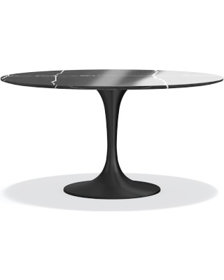 """Tulip Pedestal 56"""" Round Dining Table, Aged Bronze, Black Marble"""