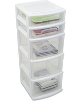 Homz Plastic 5 Drawer Medium Cart, White Frame with Clear Drawers, Casters, Set of 2