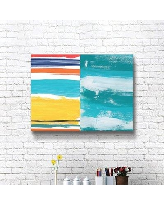"""Ebern Designs 'Ocean Layers No. II' Print on Canvas BF207858 Size: 14"""" H x 18"""" W x 2"""" D Format: Wrapped Canvas"""