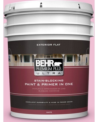 BEHR ULTRA 5 gal. #100B-4 Pink Chintz Flat Exterior Paint and Primer in One