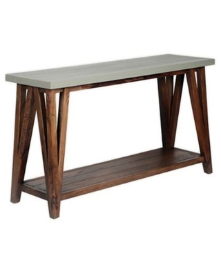 """Alaterre Brookside 52"""" Concrete-Coated Console Table In Light Grey"""