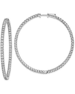 Sterling Silver CZ 124 Stones In and Out Round Hoop Earrings