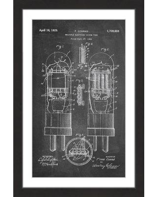 """Marmont Hill 'Vacuum Tube 1924 Chalk' by Steve King Framed Painting Print MH-STVKG-251-BFP Size: 18"""" H x 12"""" W x 1.5"""" D"""