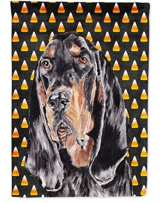 Coonhound Halloween Candy Corn Flag Canvas House Size