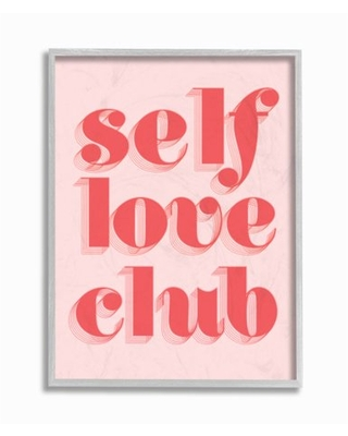"""Stupell Industries Self Love Club Quote Bold Pink Red Text Color Pop Framed Wall Art Design by Daphne Polselli, 16"""" x 20"""", Gray Framed"""