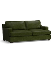 Townsend Square Arm Leather Loveseat, Polyester Wrapped Cushions, Leather Legacy Forest Green