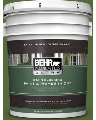 BEHR Premium Plus Ultra 5 gal. #410D-7 Mountain Forest Semi-Gloss Enamel Exterior Paint and Primer in One