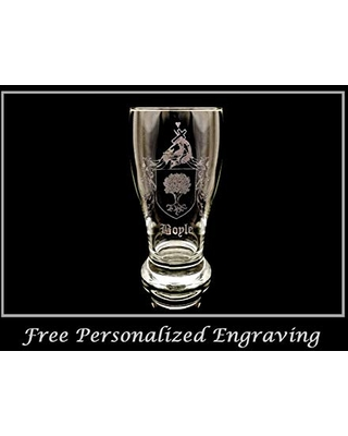 Boyle Irish Coat of Arms Pint Glass - Free Personalized Engraving, Family Crest Custom Beer Glass