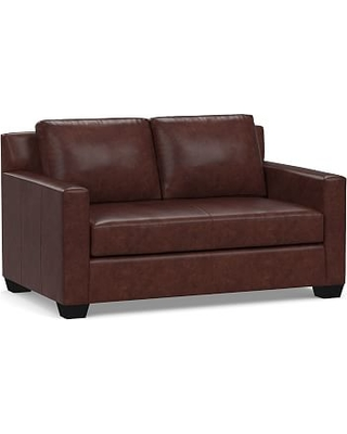"York Square Arm Leather Loveseat 60"" with Bench Cushion, Down Blend Wrapped Cushions, Statesville Espresso"