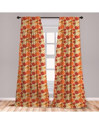Amazing Savings On East Urban Home Spring Floral Room Darkening Rod Pocket Curtain Panels Size Per Panel 28 X 84 Polyester In Orange Size 63 W X 56 D Wayfair