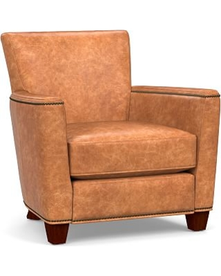 Irving Square Arm Leather Recliner with Bronze Nailheads, Polyester Wrapped Cushions, Vintage Caramel