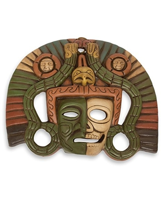 NOVICA Decorative Ceramic Wall Mask, Brown Tan and Green, Aztec Duality'