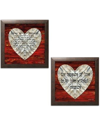 """Winston Porter 'The Measure of Love and Love is Patient' 2 Piece Textual Art Set BI042745 Size: 12"""" H x 12"""" W x 0.75"""" D Format: Brown Frame"""