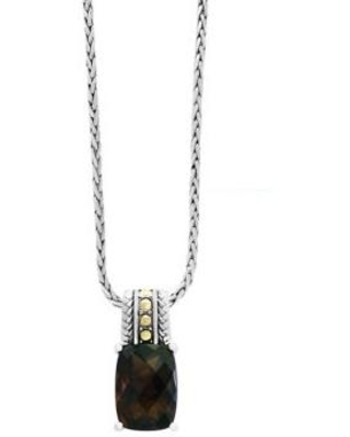 Effy Silver/Gold 5.55 ct. t.w. Smoky Quartz Pendant Necklace in 18k Yellow Gold and Sterling Silver