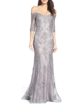La Femme Off the Shoulder Lace Mermaid Gown, Size 6 in Pink/Gray at Nordstrom