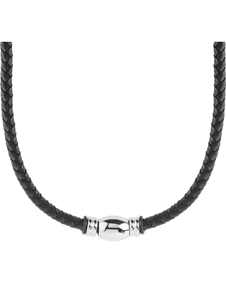 Men's West Coast Jewelry Stainless Steel Beaded Black Braided Leather Necklace