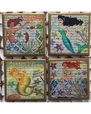 Mermaid coasters with gold trim