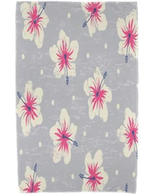 Bay Isle Home Hibiscus Blooms Floral Print Beach Towel BAYI2926 Color: Gray