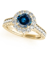 Maulijewels 1.40 Carat Round Shape Blue And White Diamond Ring in 14K Yellow Gold