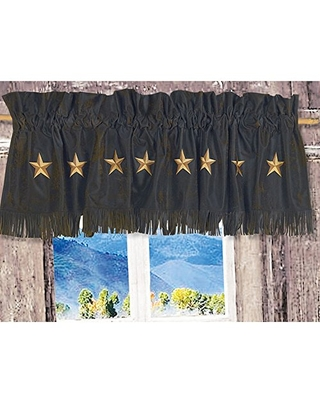 """HiEnd Accents Laredo Western Star Faux Leather Curtain Valance, 18"""" x 84"""", Chocolate"""