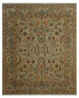 """One-of-a-Kind Rodiguez Hand-Knotted 2010s Brown/Light Yellow 8'2"""" x 9'11"""" Wool Area Rug Astoria Grand"""