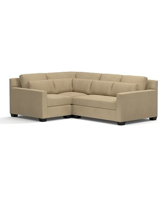 York Square Arm Upholstered Deep Seat Right Arm 3-Piece Corner Sectional, Down Blend Wrapped Cushions, Performance Everydaysuede(TM) Light Wheat