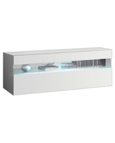"""Ada 1X All High Gloss Modern Wall Mounted Floating TV Stand, 39"""" Width (White)"""