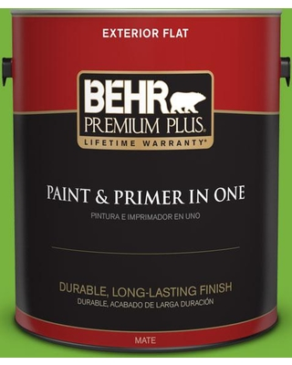 BEHR PREMIUM PLUS 1 gal. #S-G-430 Sparkling Apple Flat Exterior Paint and Primer in One