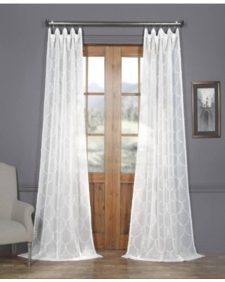 """Exclusive Fabrics & Furnishings Marseille Shell Patterned Sheer 50"""" x 96"""" Curtain Panel"""