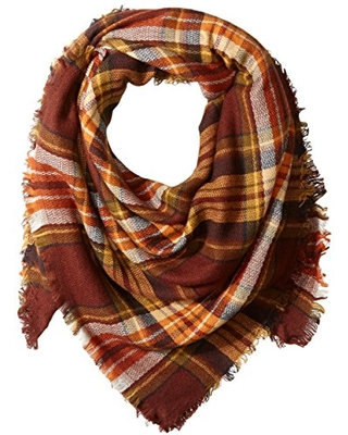 La Fiorentina Women's Oversized Square Plaid Scarf, Natural, One Size