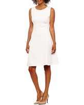 Black Label by Evan-Picone Sleeveless Fit & Flare Dress, 14 , White