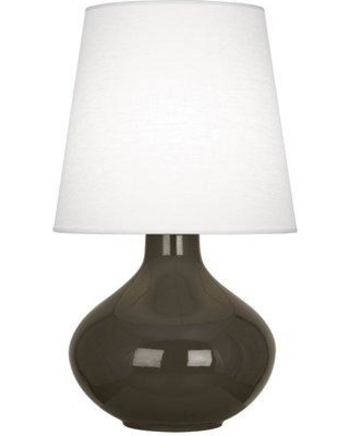 """Robert Abbey June 31"""" Table Lamp RAB3785 Shade Color: Oyster Linen Base Finish: Brown Tea Glazed Ceramic"""