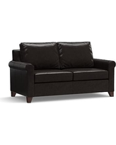 """Cameron Roll Arm Leather Loveseat 66"""", Polyester Wrapped Cushions, Leather Vintage Midnight"""