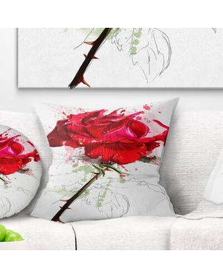 Flower Rose Sketch with Stem Pillow