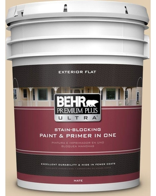 BEHR ULTRA 5 gal. Home Decorators Collection #HDC-AC-09 Concord Buff Flat Exterior Paint & Primer