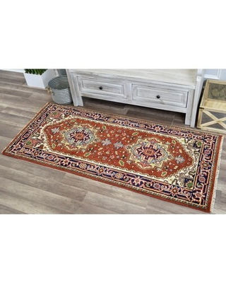 """Clarendale Oriental Hand-Knotted Wool Red/Blue Rug World Menagerie Rug Size: Rectangle 2'6"""" x 6'"""