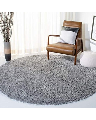 """Safavieh August Shag Collection AUG200G 1.5-inch Thick Area Rug, 6' 7"""" Round, Silver"""