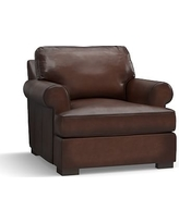Townsend Roll Arm Leather Armchair, Polyester Wrapped Cushions, Leather Burnished Walnut