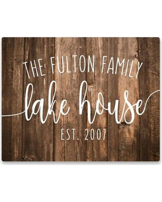 Millwood Pines Personalized 'Lake House' Rustic Wood Graphic Art Print on Metal BF040912 Customize: Yes