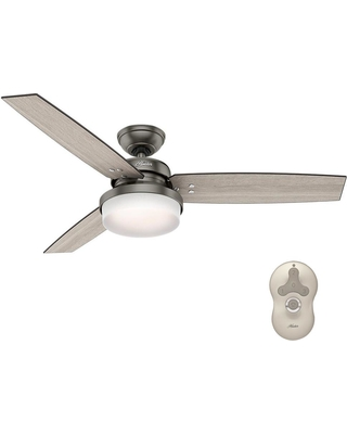 Great deals on hunter sentinel 52 in led indoor brushed slate led indoor brushed slate ceiling fan with light kit and universal mozeypictures Images