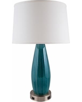 Stream Line Turquoise Table Lamp w/ Outlet and USB Port