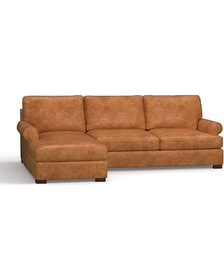 Townsend Roll Arm Leather Right Chaise Sofa Sectional Polyester Wred Cushions Statesville Caramel