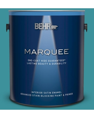 BEHR MARQUEE 1 gal. #520D-6 Lagoon Satin Enamel Interior Paint and Primer in One