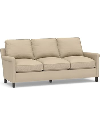 "Tyler Roll Arm Upholstered Sofa 78"" without Nailheads, Down Blend Wrapped Cushions, Twill Parchment"