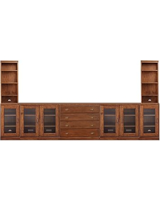 Printer's Bookcase Towers with Drawers, Tuscan Chestnut