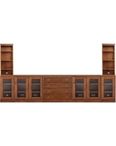 Printer's Large Home Office Suite, (Includes 2 Double Glass Door Pedestals, 2 Single Glass Door Peds, 1 Lateral File, 1 quad top, 2 double tops, 2 bookcase hutches), Tuscan Chestnut stain