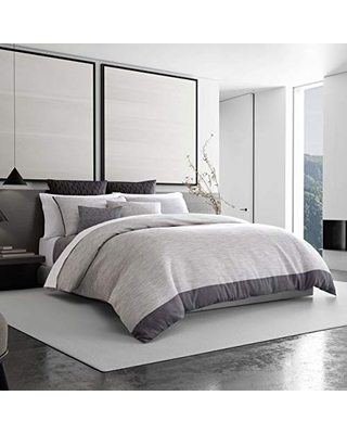 Vera Wang Grisaille Weave Grey Duvet Cover, Queen