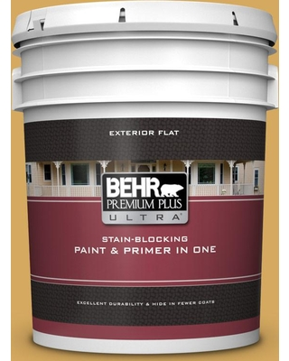 BEHR Premium Plus Ultra 5 gal. #340D-5 Galley Gold Flat Exterior Paint and Primer in One
