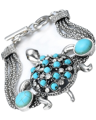 Semi-precious Faux Turquoise Bracelet w/Antique Rhodium Plating, Sea Turtle, by JADA Collections